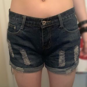 Pants - Women's Blue Jean Shorts With Horizontal Rips